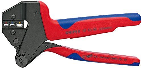 KNIPEX 97 43 06 Crimp-Systemzange für auswechselbare Crimpeinsätze brüniert mit Mehrkomponenten-Hüllen 200 mm