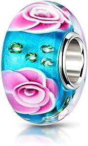 MATERIA 925 cuentas de plata colgante Charm Rose turcochipriotas rosa verde - objetos de cristal de Murano perla flor para Beads Pulsera #440