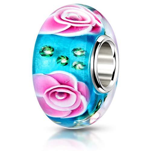 MATERIA 925 argento ciondolo a forma di rosa turchese Perle rosa verde - Perle in vetro di murano a forma di fiore per Beads braccialetto #440
