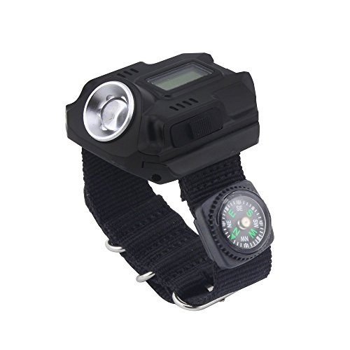 Soondar Super Bright Wrist LED Light R5 Rechargeable Waterproof LED Flashlight Wristlight Watch with Compass, Best for Running Mountain Climbing Camping Survival Hiking Hunting Patrol