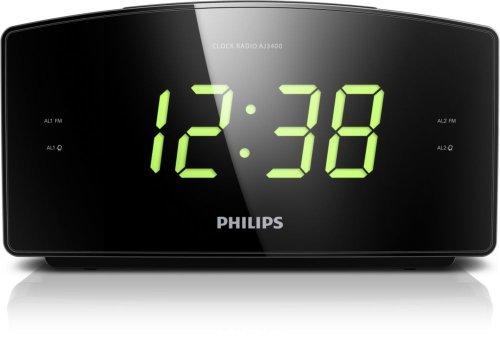 Philips AJ3400/05 Radio Uhr Schwarz - Radios (Uhr, FM, 87,5-108 MHz, 0,4 W, LED, Grün)