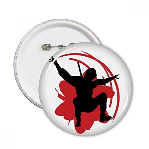 DIYthinker Botón Bushido Samurai Sakura Silueta Japón Asia pernos redondos Placa Ropa Decoración 5Pcs regalo XXL Multicolor