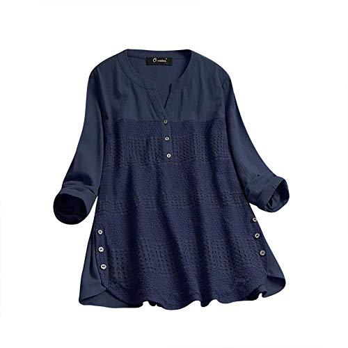VEMOW Sommer Herbst Elegante Damen Frauen Floral Printed Langarm Beiläufig Täglichen Party Workout Tunika Swing Tops Shirt Bluse Hemd(X2-Marine, 44 DE/M CN)
