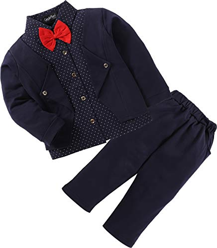 GigglePlum Baby Boys and Girls Cotton Blazer Style Shirt and Pant Set with Red Bow