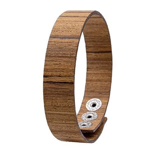 LAiMER Holzarmband - Damen & Herren Armband/Armreif aus Feinem Holz - Größenverstellbar 55-65 mm Durchmesser aus Zebranoholz 15 mm breit