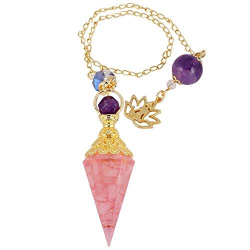 rockcloud Healing Crystal Point Pendulum for Divination, Chakra Reiki Dowsing Balancing 6 Facet Pendant, Rose Quartz