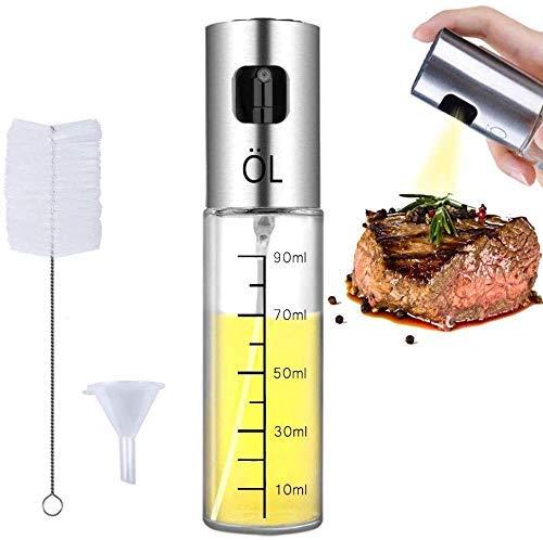 Olive Oil Sprayer Stainless Steel Mister Dispenser Refillable Oil Vinegar Spritzer with Oil Spray Bottle Brush and Oil Funnel for Cooking Salad Grilling Roasting Air Fryer BBQ Kitchen (c)