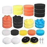Kit per Lucidatrici Auto, Lucidatura auto pad spugna e lana ceretta pad lucidatura pastiglie kit composto(31pcs) con 2pcs M10 adattatore per lucidatura, levigatura, ceretta.