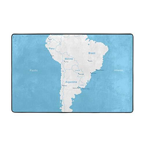 Starodec Alfombra de baño,Mapa de América del Sur isométrica de Columbia Paraguay Quito,Alfombra de baño Antideslizante Alfombra