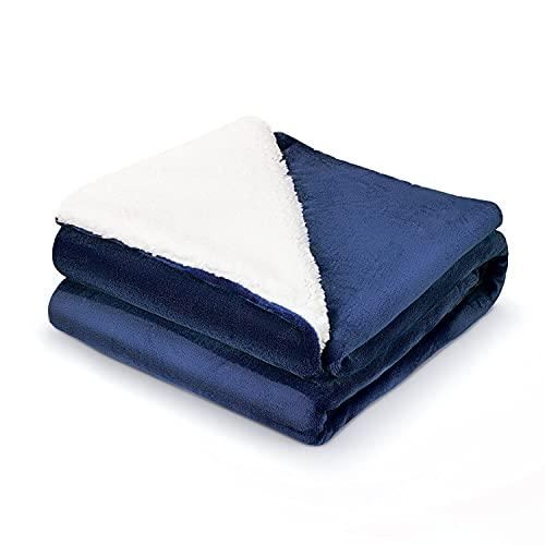 Tafts Überwurfdecken – Ultra Plüsch/Sherpa-Fleece-Decken weich, ultra-bequem & flauschig Plüschdecken Überwürfe für Couch, Bett und Wohnzimmer alle Jahreszeiten Decken Queen-Size-Größe Schieferblau