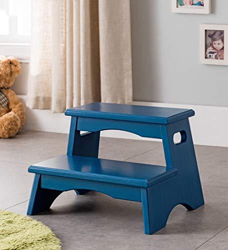 QQXX Escalera de Madera Maciza para el hogar de 2 escalones (Color: Azul, tamaño:38x33x27cm)
