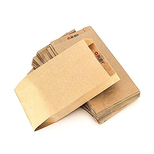 RUBY 100 stuks papieren zakken, bruin, kraftpapieren zakken, kleine papieren zakken, kleine cadeauzakjes, papieren…