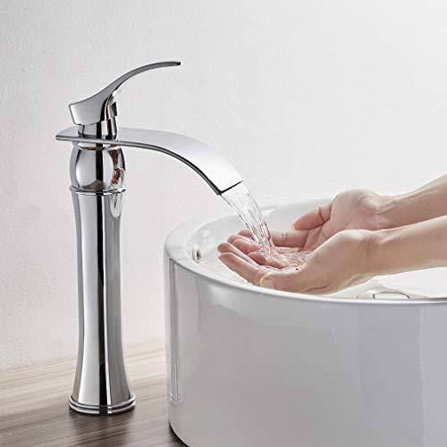 Auralum Cascada Grifo Mezclador de Baño, Función de Ahorro de Agua, Grifería Monomando Alto Cromado de Baño Lavabo Mezclador para Baño