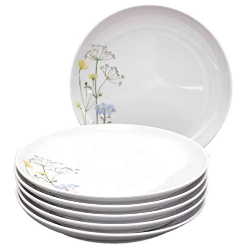 Kahla 39F190A50002C Wildblume Porzellan Tellerset 6-teilig Kuchenteller für 6 Personen Dessertteller 22 cm rund rot Blumendekor kleine Snackteller