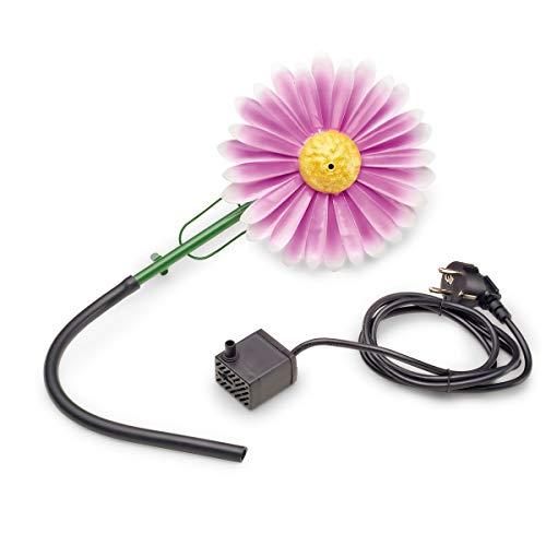 AQUANIQUE Speier Set Gänseblümchen pink SSDW 200i, Wasserspiel, Wasserspeier aus Metall mit Pumpe, 200 l/h, 1,5m Kabel, Gartendekoration