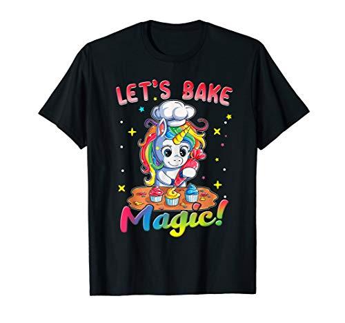 Unicorn Baking Shirt Rainbow Cupcake Cake Girl Gift Cook Kid T-Shirt