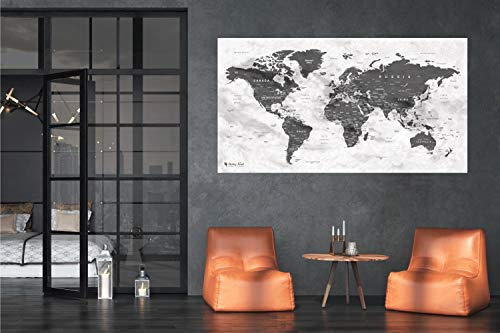 Itchy Feet Weltkarte XXL 130 x 70 cm Zum Pinnen, World Map Aus Edlem Vlies Als Pinnwand Mit 20 Pins/Fähnchen