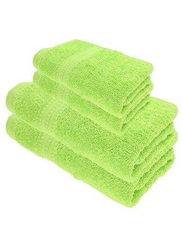 Julie Julsen Juego de toallas de ducha (4 piezas, 2 toallas de ducha, 2 toallas de mano, 100% algodón, 550 g/m²), color verde