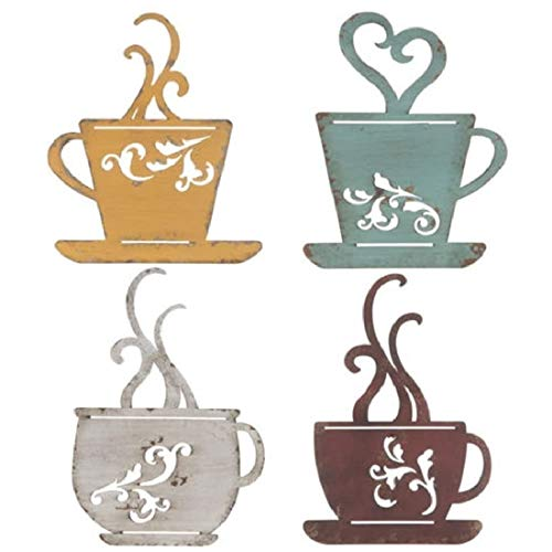 CraftyCrocodile Coffee Cup Wall Decor - Metal Cafe-Themed Decorations - Set of 4 Red, Turquoise, Yellow, & White Vintage Mug Art - Decorative Kitchen, Dining Room, Restaurant, Coffee Shop Accessories