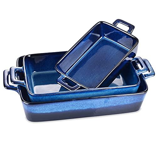 TWDYC Esla de glaseado de 3 Piezas Plato de platillo de Horno Rectángulo Azul Pruebe a Prueba de Horno de cerámica a Ideal for lasaña/Pastel/Tapas