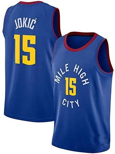 XIAOHAI NBA Men's Basketball Jersey Denver Nuggets # 15 Nikola Jokic Transpirable Resistente a la Camiseta de Baloncesto Bordado de Malla Bordada Camiseta Deportiva,Azul,XL
