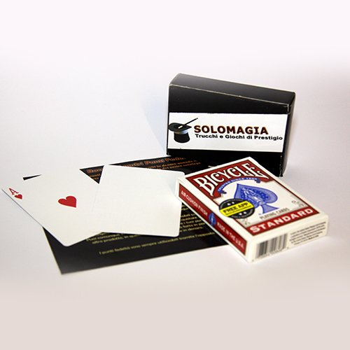 SOLOMAGIA Mazzo di Carte Bicycle Gaff Cards Dorso Bianco Faccia Standard - box rosso - Mazzi Bicycle - Carte da gioco - Giochi di prestigio e Magia
