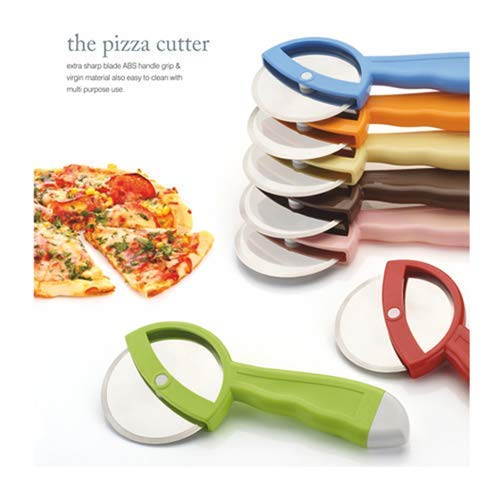 WowZable The Pizza Cutter Extra Sharp Multi Purpose Stainless Steel Blade with ABS Handle Grip - Multi Color (Apex Brand) (Made in India)