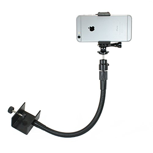 Livestream Gear - Heavy Duty Desk Clamp Mount for Any Smartphone, or Sport Camera. Great for Streaming or Recording Video. Use for Music Mount, Desk Mount, Table Mount. (Heavy Duty Flex)