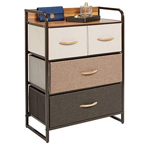 mDesign Kommode mit 4 Schubladen – breiter Schubladenschrank für Schlafzimmer, Wohnzimmer oder Flur – Kleiderkommode aus Metall, MDF und Stoff – mehrfarbig und braun