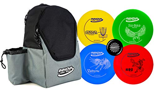 Innova Discs Golf Set with 4 Discs and Discover Disc Golf Backpack – DX Distance Driver, Fairway Driver, Mid-Range, Putter and Mini Marker Disc (Black/Gray)