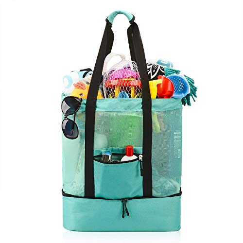 Casefashion Strandtasche Badetasche XXL mit Wasserdichter Kühlfach Hoch Kapazität Reißverschluss Größenangabe 51x41x17 CM, Ideal für Reise oder Ausflug mti Kindern Beachbag Urlaubstasche(Hellgrün)