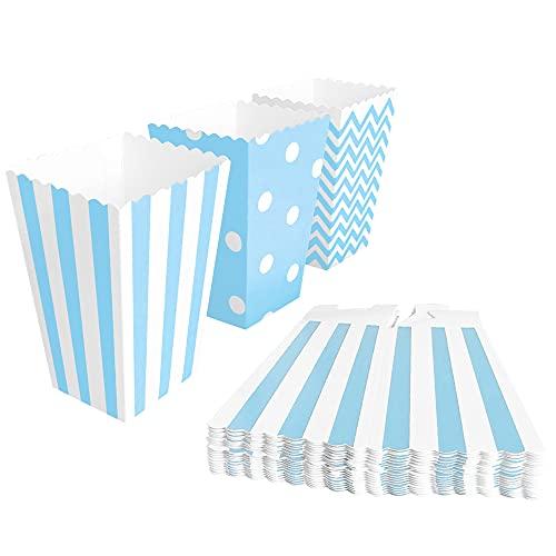 BangShou 60Stk Popcorn Tüten Candy Container Popcorn Box Partytüten für Popcorn Salzstangen und Candybar (blau)