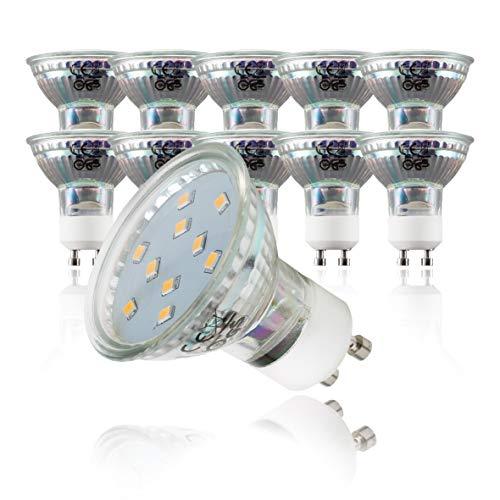 B.K.Licht 10er Set 3W LED Lampen I Energiesparende Leuchtmittel mit GU10 Fassung für Innenräume I Ersetzt 35W Halogen-Birne I Reflektorform I 250 Lumen I 3000K für warmweisses Licht[Energieklasse A+]