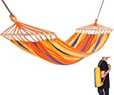 KingCamp Single Protable Cotton Hammock with Foldable Wood Spreader Bars Ropes for Indoor Outdoor Garden Patio Yard Camping Travel, Supports 220lbs, Carry Bag Included, Orange