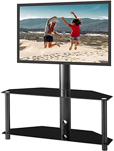 MWKL Soporte de TV de Piso Ajustable actualizado Soporte de TV LCD Estantes de Vidrio Templado de 2 Niveles de Plasma para Dispositivos Multimedia múltiples