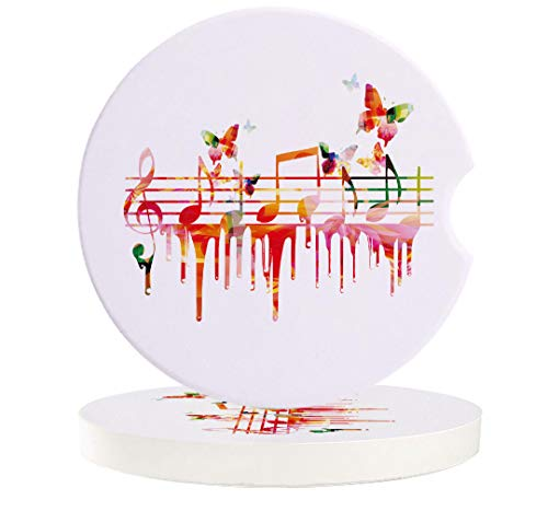 Music Decor 6 Pcs Car Coasters Absorbent Ceramic for Drink - Colorful Artwork Music Notes Clef Composer Orchestra Decorative, Best Interior Decorative Cupholder for Car Accessory