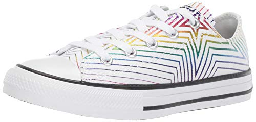 Converse Girls' Chuck Taylor Stars Sneaker, White/Black, 3 M US Little Kid