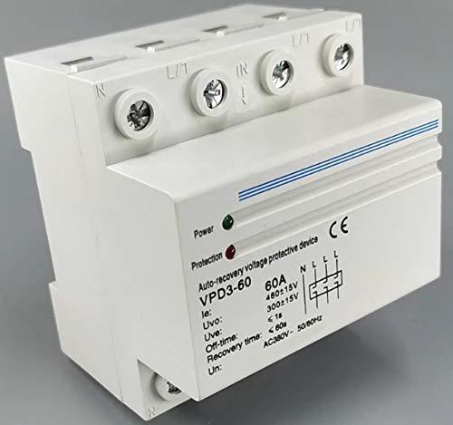 Protector Trifasico Sobre-Tensiones y Baja Tensión con Rearme Automático 400v, 50-60Hz, MAX.60A