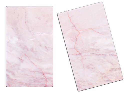 Herdabdeckplatten, Schneidebrett aus Glas, Marmor Optik Rosa HA515195695 Variante 2er Set (2 Panels)