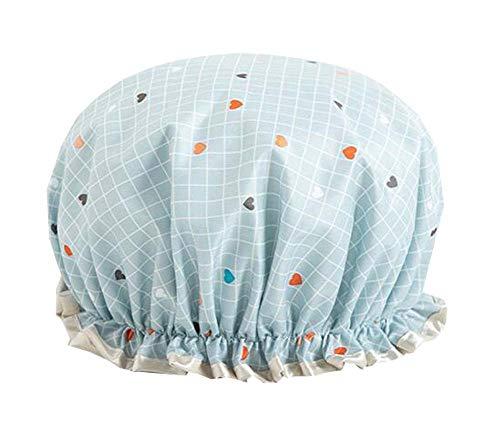 Imperméable Adulte Femmes Douche Bonnet de bain Cuisine Chapeau-Bleu Amour