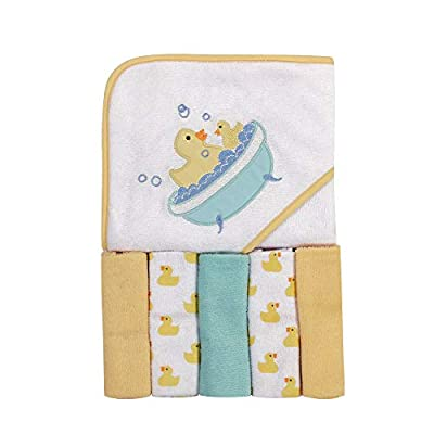 Luvable Friends Unisex Baby Hooded Towel with Five Washcloths, Bathtime Duck, One Size