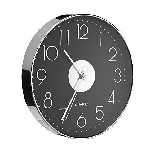 Orologio Da Parete Moderno - Decorazioni Casa, Soggiorno, Cucina - Design Moderno E Silenzioso Arredamento Da Muro Accessori Casa Placcato Argento Senza Ticchettio Copertura In Vetro Anti-Graffio