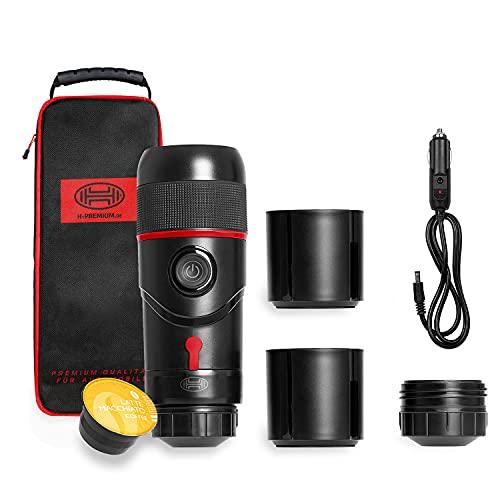 HEYNER® Espressomaschine tragbar für Auto, Reisekaffeemaschine, Minipresso mit extra Becher 12V