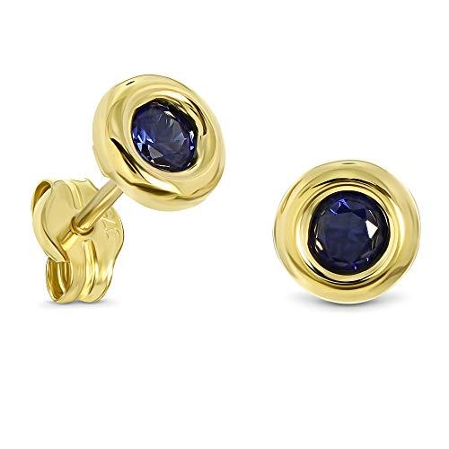 Miore Ohrring Damen runde Ohrstecker mit Edelstein/Geburtsstein Saphir in blau aus Gelbgold 9 Karat / 375 Gold, Ohrschmuck