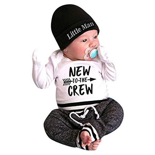 Modaworld Conjunto de Ropa de bebé recién Nacido niña niño Carta de impresión Romper Tops Camisas + Pantalones Largos + Sombrero Trajes de 3 Piezas Conjuntos