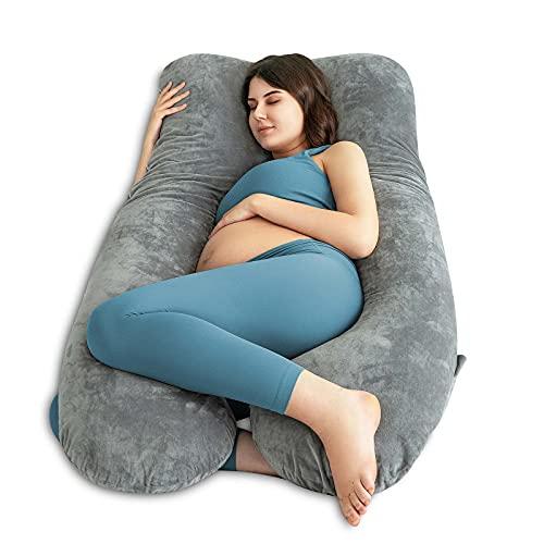 Queen Rose - Almohada de cuerpo completo para embarazos y almohada de maternidad con funda reemplazable y lavable, algodón, Terciopelo, gris, 150 x 80 cm