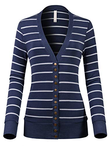 Design by Olivia Women's V-Neck Snap Button Down Long Sleeve Soft Basic Striped Knit Cardigan Sweater Navy/Ivory L
