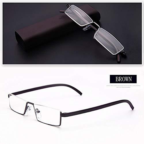 Reading glasses Stilvolle halben Rahmen Lesebrille, Leichte Unisex-Brille und Universal-Kompaktetui (Blau, 1,0 bis +3,5)