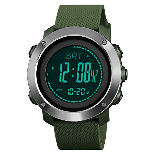 FeiWen Unisex Outdoor Militar Deportivo Digitales Brújula Relojes de Pulsera LED Electrónica Multifuncional Pulsómetro Altímetro Termómetro Alarma Reloj Plástico Bisel con Goma Correa (Verde 2)