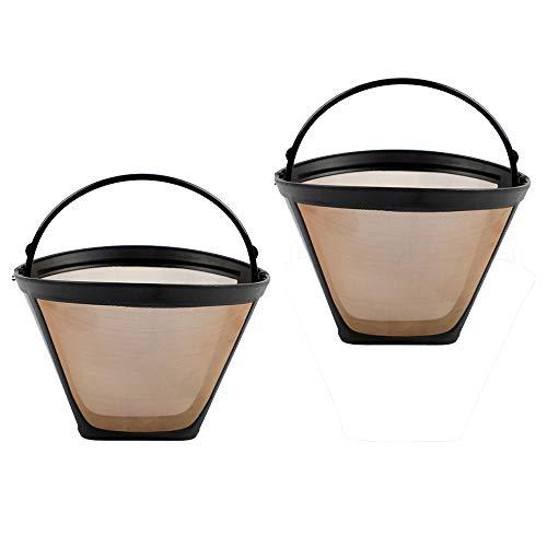 Loriver 2x permanenter wiederverwendbarer Kaffeefilter mit Kegelform und Netzkorb in Goldfarben